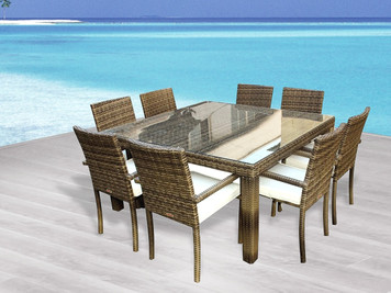 Outdoor Patio Wicker Furniture New Resin 9-PC Square Dining Table & Chairs Set