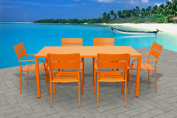 Outdoor Patio Furniture Orange Aluminum 7-Piece Square Dining Table & Chairs Set