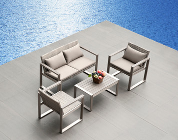 Outdoor Patio Wicker Furniture  Aluminum Resin Wicker 4-PC Sofa Set