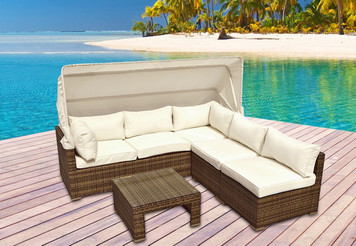 Outdoor Patio Furniture 4pc Rattan Resin All Weather Wicker Sectional Couch Set
