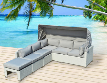 Outdoor Patio Furniture 4 Pc Rattan Resin All Weather Wicker Sectional Couch  Set