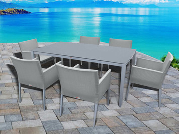 Outdoor Patio Furniture New Aluminum Gray Frosted Glass 7-Piece Rectangular Dining Table & Sling Chairs Set