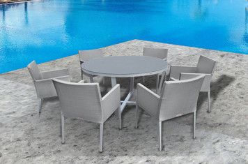 Outdoor Patio Furniture New Aluminum Gray Frosted Glass 7-PC Round Dining Table Set