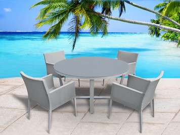 Outdoor Patio Furniture New Aluminum Gray Frosted Glass 5 PC Round Dining  Table Set