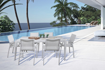 Outdoor Patio Furniture New Aluminum Gray Frosted Glass 7-PC Rectangular Dining Table & Sling Chairs Set
