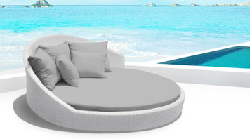 Outdoor Patio Wicker Furniture All Weather  Round Double Bed Set