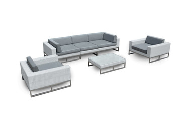 Outdoor Patio Furniture 6-PC Weather-Wicker Sofa Sectional Set