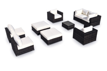 Outdoor Patio Furniture Wicker Sofa Sectional 9-Pc New Resin Couch Set