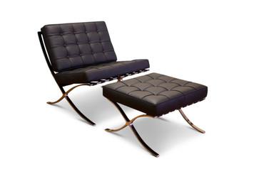 Barcelona Modern Full Grain Italian Leather Chair with Ottoman