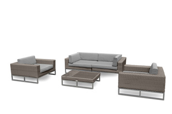 Outdoor Patio Furniture All Weather Wicker 5-Pc Sofa