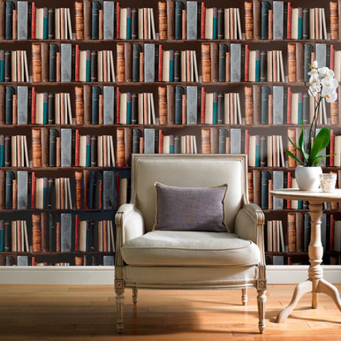 multi coloured bookshelf wallpaper