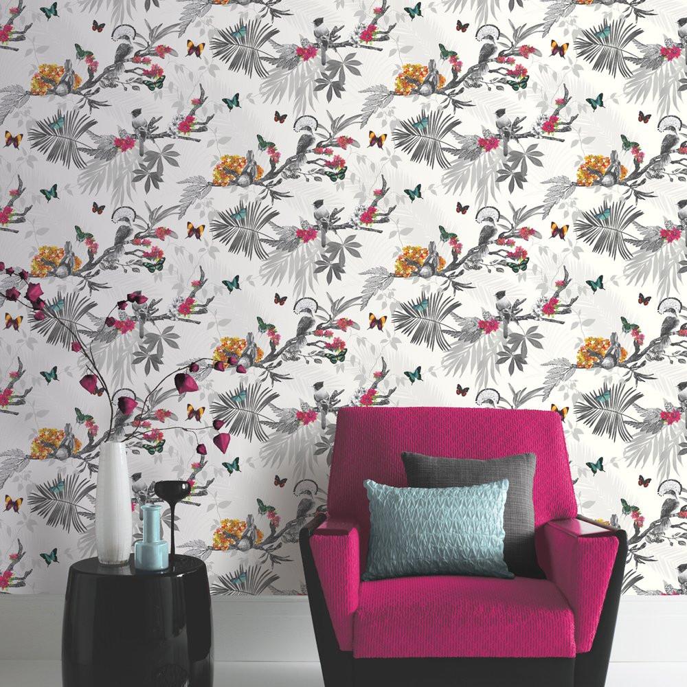 Mystical Forest White Multi Wallpaper