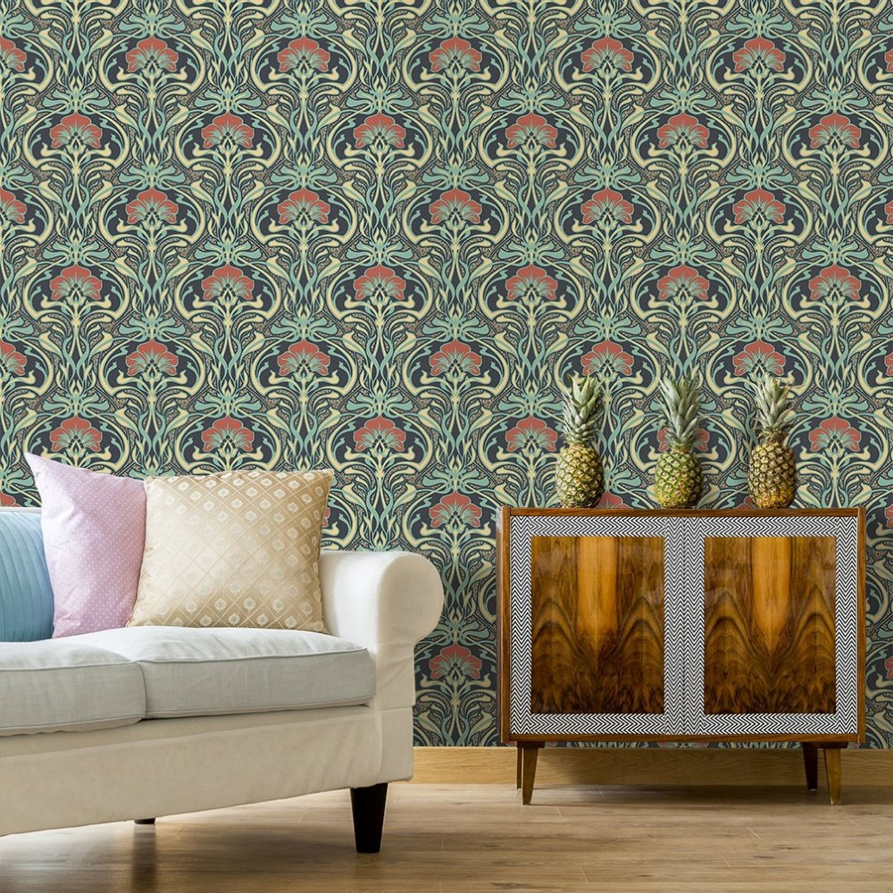 Floral Nouveau Peacock Green Wallpaper Crown