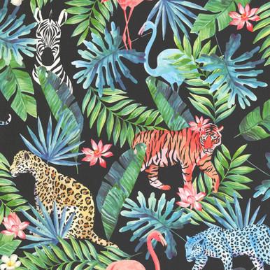 multicoloured tropical animals wallpaper on black 42500 20. Black Bedroom Furniture Sets. Home Design Ideas