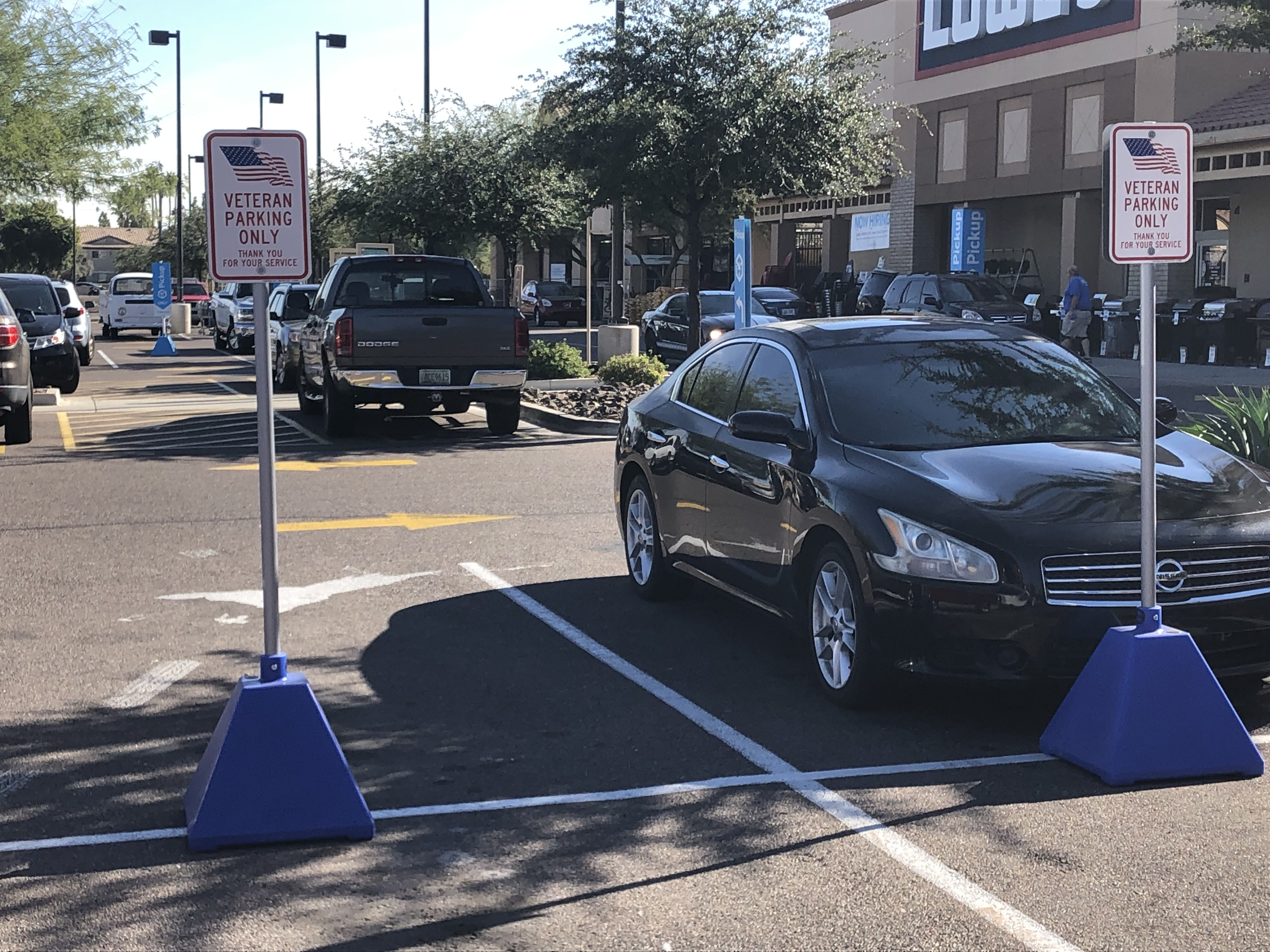 Blue Pyramid Sign Bases for Veteran Parking at Lowe's
