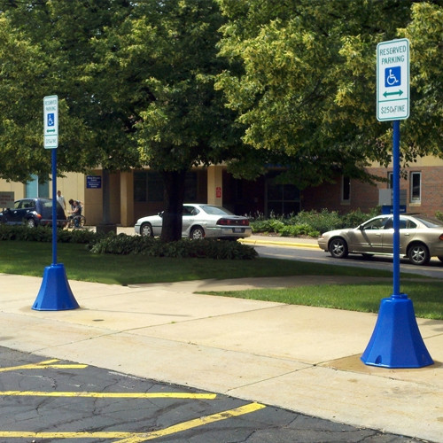 Blue Octagon Sign Bases used for Handicap Accessible Parking