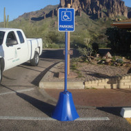 Blue Octagon Sign Base used for Handicap Accessible Parking Spot
