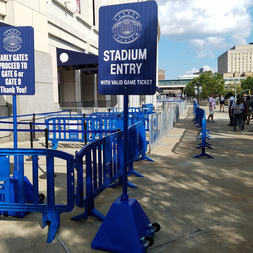 Bollards and Sleeve's Blue Plastic Sign Bases with Stadium Entry Signage at Yankees Stadium