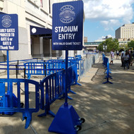Blue Plastic Sign Bases with Stadium Entry Signage at Yankees Stadium