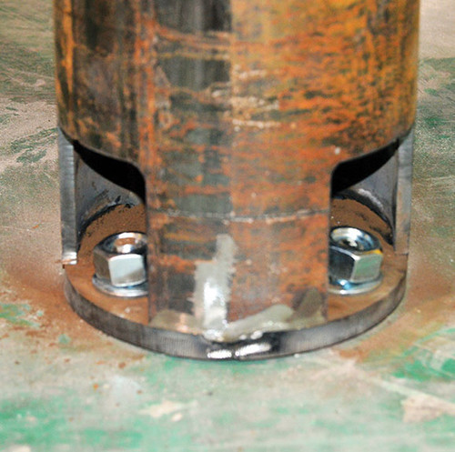 Up close view of Base Plate Hidden Bollard