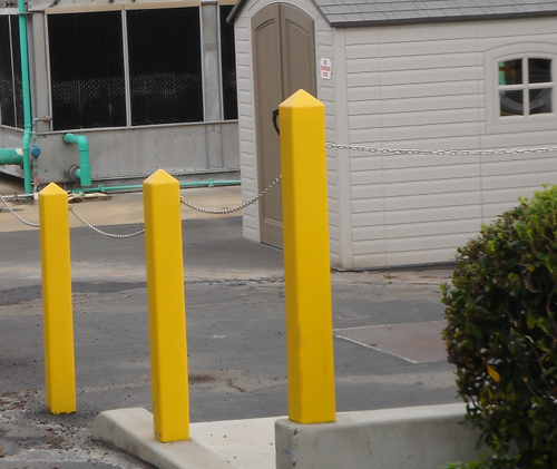 Square Bollard Covers with chain connections