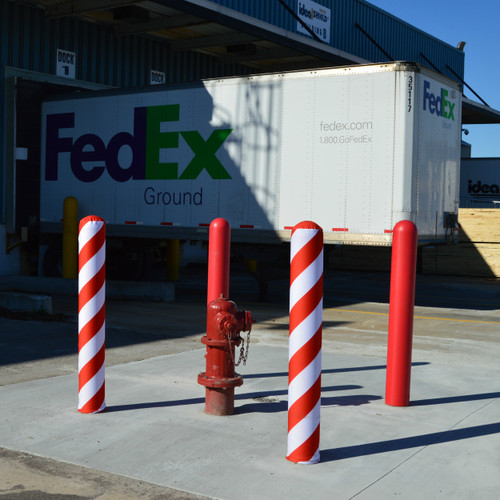 Candy Cane Fabric Bollard Sleeves & Bollard Covers