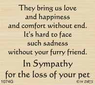 Furry Friend Sympathy Greeting - 1074G