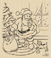 Santa with Puppy Christmas Scene - 1041P