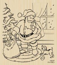 Santa with Puppy Christmas Scene - 1041P