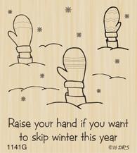 Raised Mittens Skip Winter Greeting - 1141G