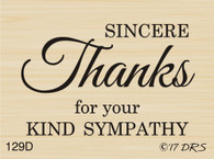 Sincerely Sympathy Thanks - 129D