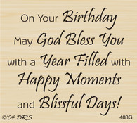 God Bless Birthday Greeting - 483G
