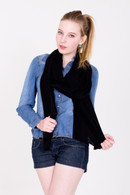 Fine Knit Cashmere Shawl Super Black