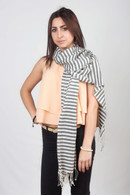 Striped Pashmina Black and White