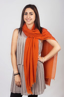 Light Cashmere Scarf Mandarin Orange