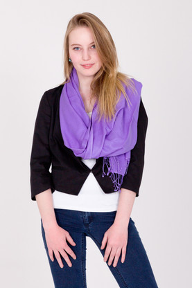 This lavender Pashmina is a versatile look that compliments any outfit, whether it is for an evening out or a more casual look when paired with your favorite jeans.