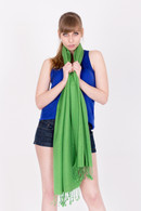 Wrap yourself in luxury with this green Pashmina.