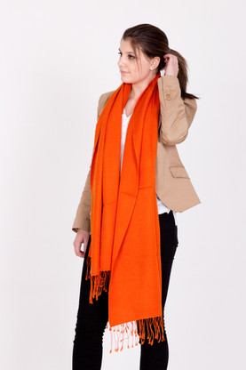 Wrap yourself in luxury with this orange Pashmina.