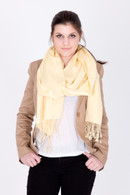 This pastel yellow Pashmina is ideal for both festive occasions and casual wear. You will love it.