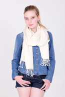 This white Pashmina is ideal for both festive occasions and casual wear. You will love it.