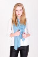 Fine Knit Cashmere Shawl Sky Blue
