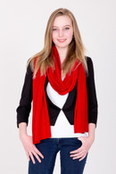 Fine Knit Cashmere Shawl Ribbon Red