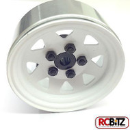 5 Lug Wagon 1.9 scale Steel Stamped Beadlock Wheels WHITE Pin Mount realistic[(1) One WHEEL]