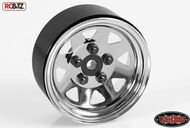 5 Lug Wagon 1.9 scale Steel Stamped Beadlock Wheels CHROME Pin Mount realistic[(1) One WHEEL]