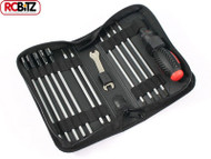 FASTRAX 19 in 1 RC Tool bag 3 Slot 3 PH 6 Hex  4 Nut 1 5/8mm Wrench FAST607 FTX