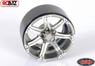 "Dick Cepek Gun Metal 7 2.2"" Internal Beadlock Wheels 4 Scale Hubs Hex Mounting"