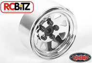 5 Lug Wagon 1.9 scale Steel Stamped Beadlock Wheels CHROME Pin Mount realistic[(4) One Set]