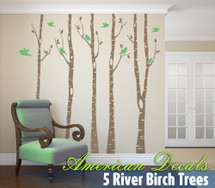 5 Trees Wall Decal River Birch Forest Woodland