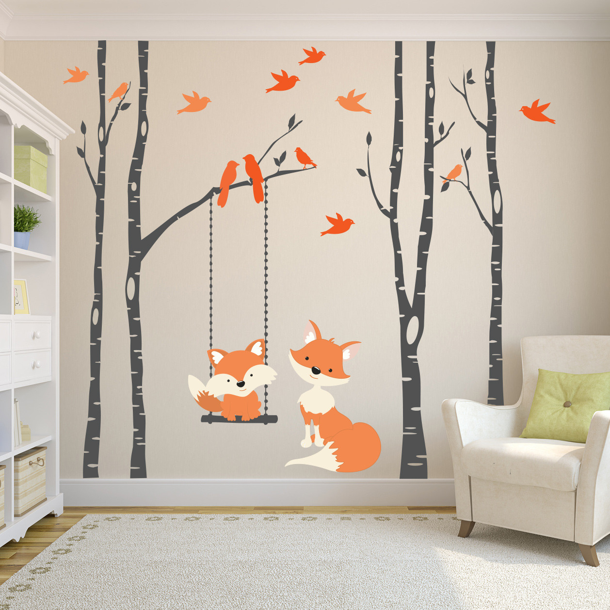 74f30c45a80 Wall Decal Baby Fox Swing Trees River Birch Woodland Forest