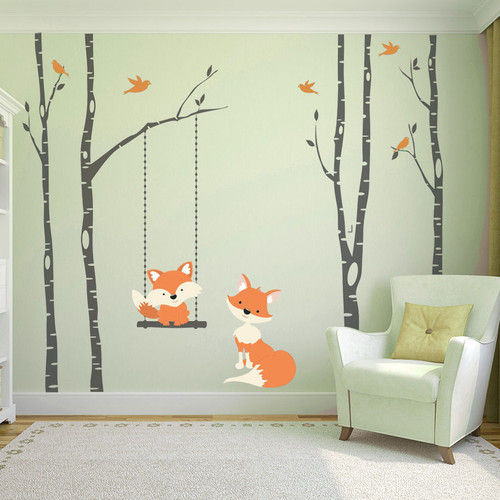 www ameridecals com Fox mom   Baby 4 birch trees Wall Decal Forest woodland. Wall Decal Baby Fox Swing Trees River Birch Woodland Forest